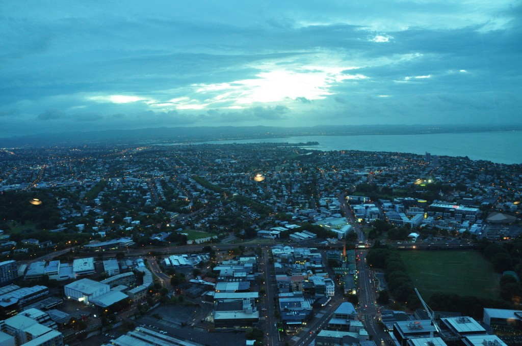 We got some beautiful city views from the top of the Sky Tower in Auckland.
