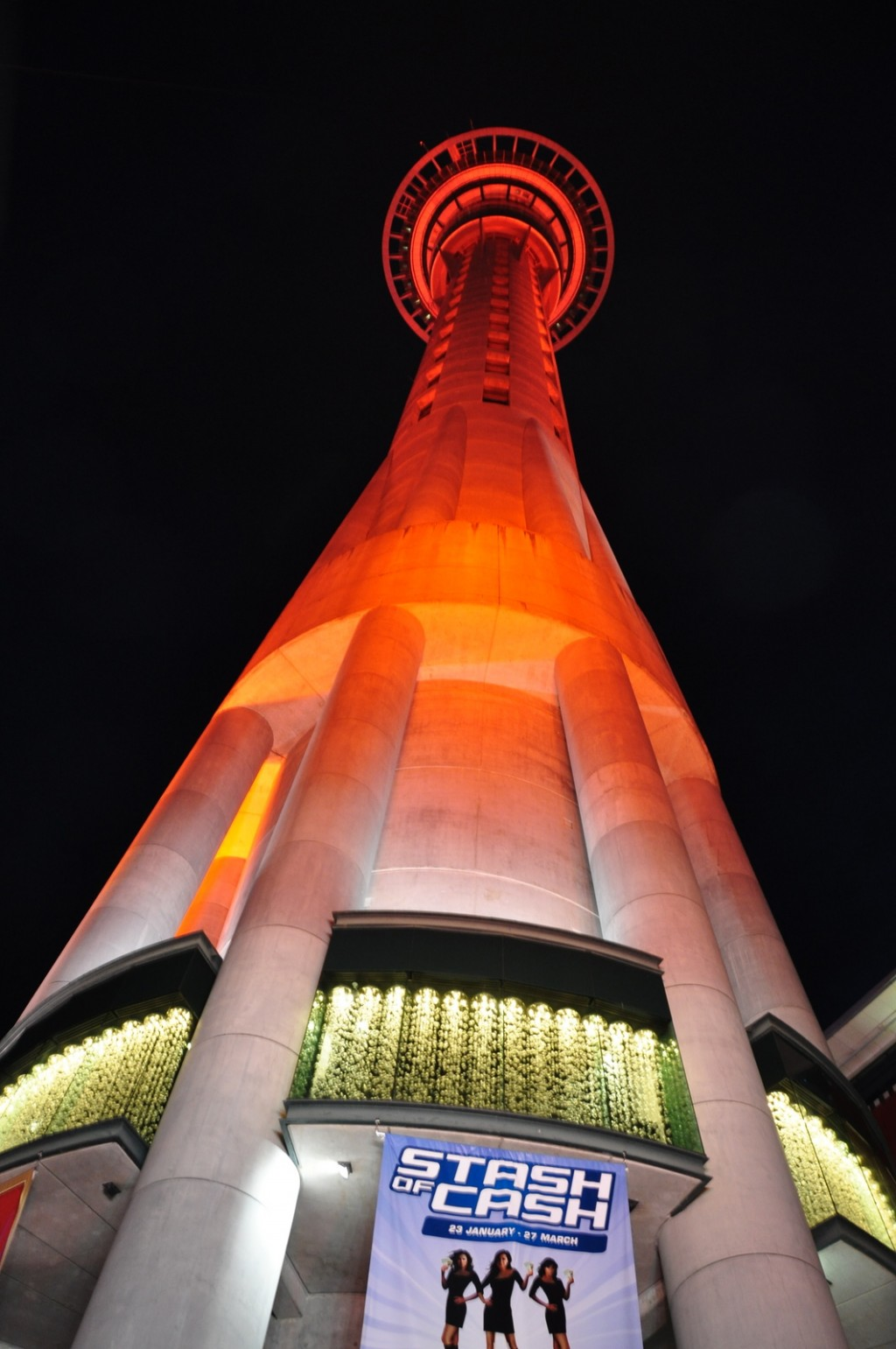 The Sky Tower is lit up beautifully at night
