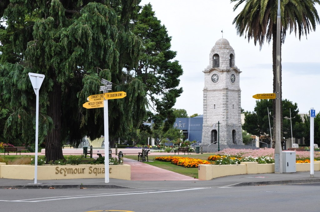 Seymour Square in Blenheim with St. Andrews Presbyterian Church