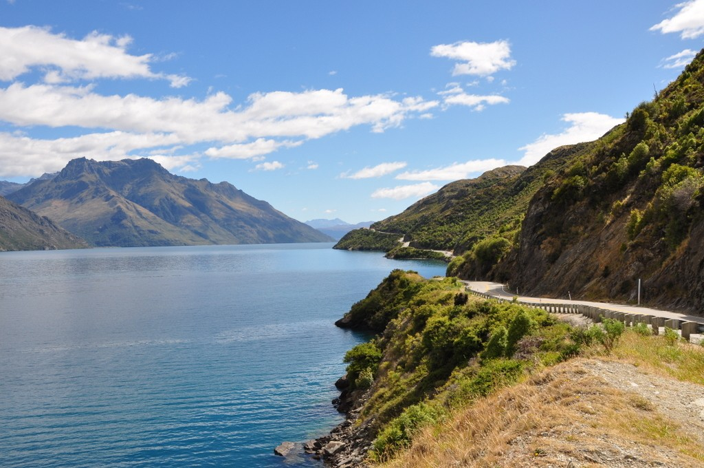 Driving Lake Wakatipu towards Queenstown