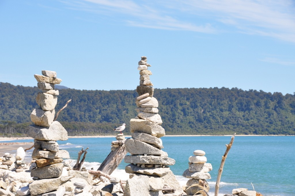 Driftwood sculptures of Bruce Bay, on the West Coast.