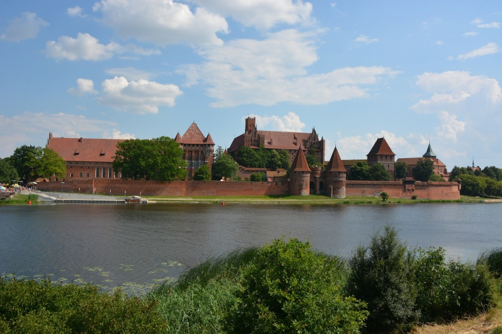 First sight of Malbork Castle from across the river.