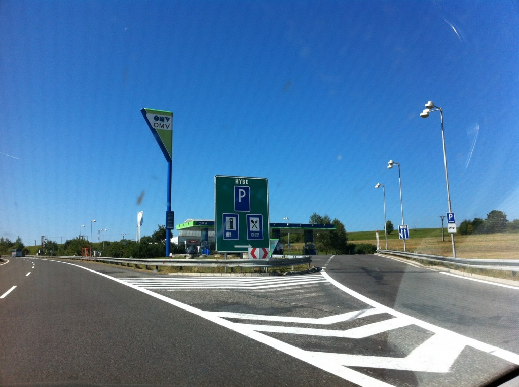 On the way to Bratislava OMV is a chain of gas/rest stops all along the highway.  Great places to stop - very clean bathrooms