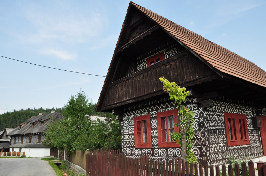 Our first stop in Slovakia was Čičmany, a beautiful town of timbered painted houses.  There are intricate white patterns over the houses which we'd never seen anywhere else.