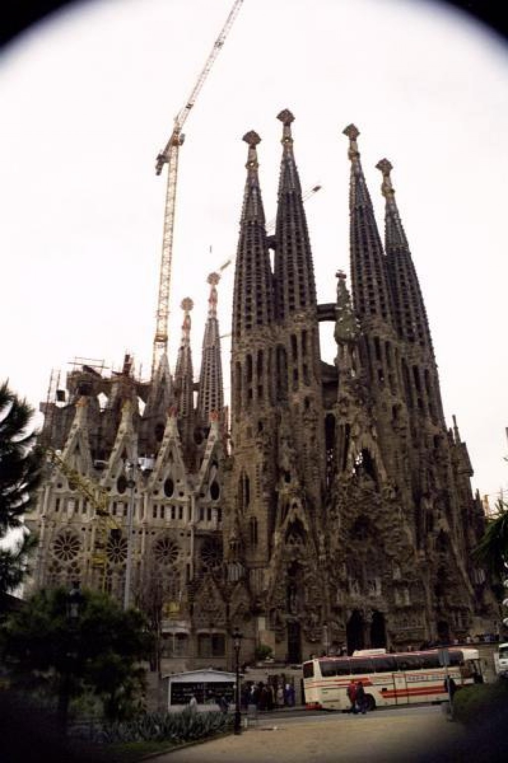 The half-finished Sagrada Familia is another one of Gaudi's creations.  Construction continues in ernest today.