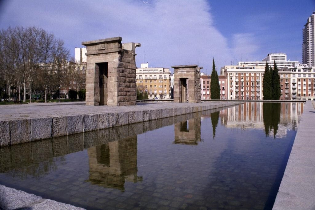 This is the Templo de Debod, the only Egypptian temple in Spain.  It was shipped over as a Thank You for helping with saving buildings from flooding.