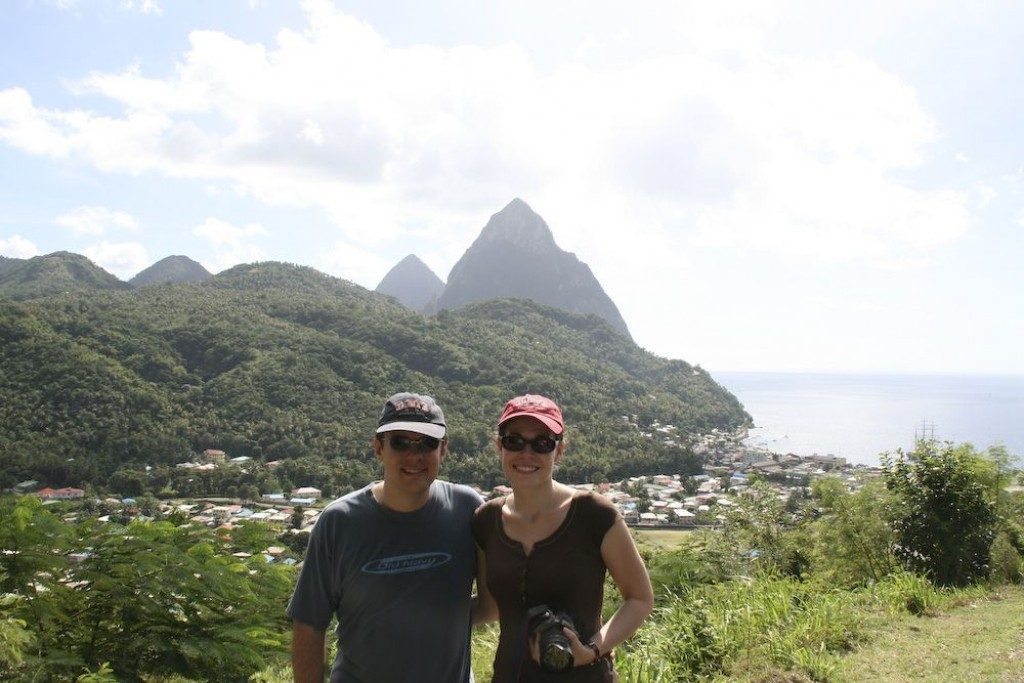 Soufriere, and the pitons behind us