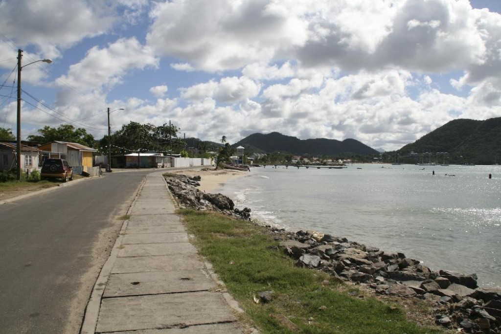Walking towards Gros Islet from the Bay Guesthouse.  The beach shown here was empty and didn't look that clean.