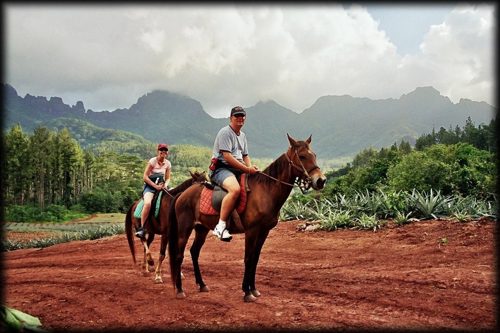 We went horseback riding with Ranch Opunohu Valley.  It was beautiful and relaxing, even though we have no idea how to ride!