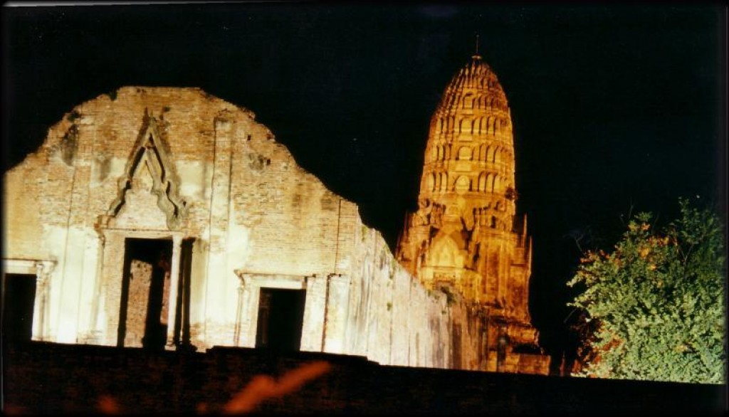 They light up the temples at night.  This is Wat Ratchaburana.