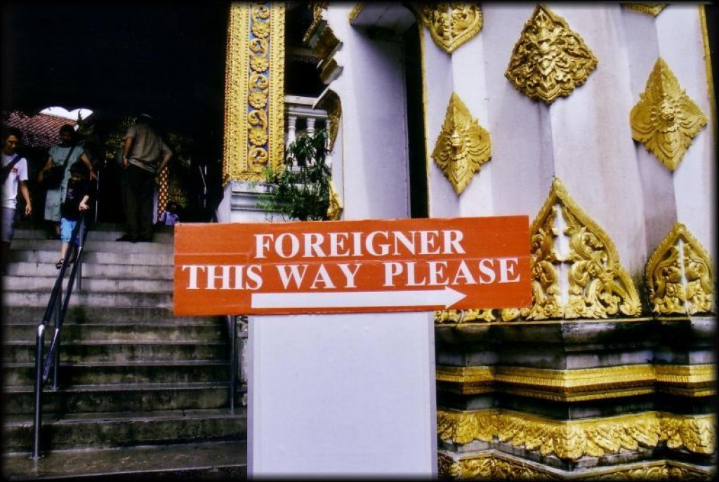 We took a songthaew up to Doi Suthep, which is a wat up on a hill overlooking the city.  This sign is a humorous stark contrast to how kind and generous all the Thai people we met actually were.
