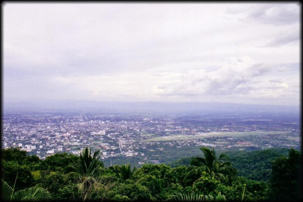 Looking towards the city of Chiang Mai from the top of the temple complex.