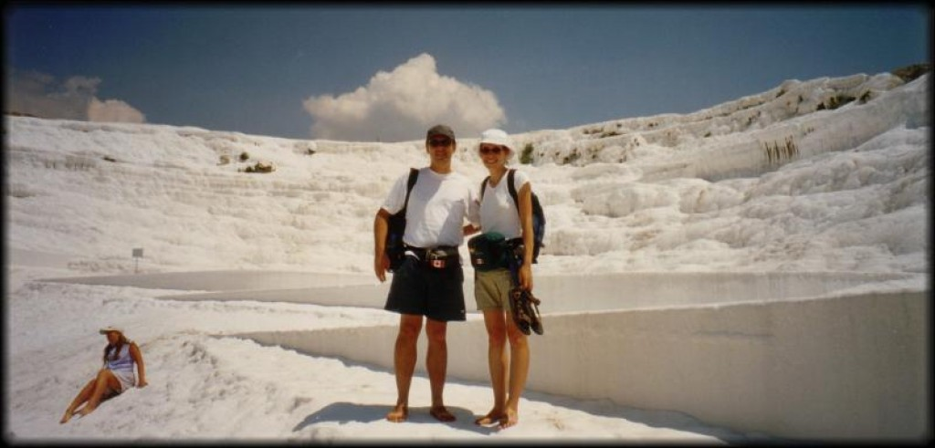 Next we headed for Pamukkale / Herapolis. Calcite-laden waters tumble over cliffs forming a series of terraced basins.  Too bad the tourists and development wrecked it.