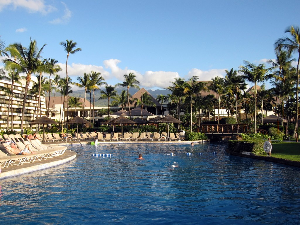 One end of the beautiful swimming pool at the Sheraton Maui