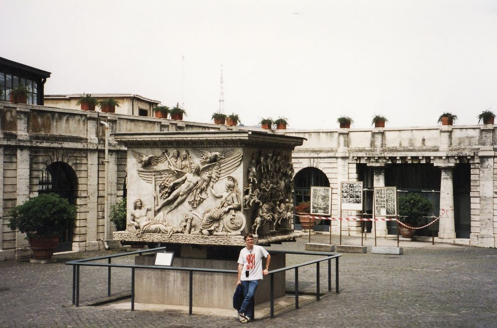In the courtyard of the Vatican Museum, this is the base of Antoninus Pius's column.