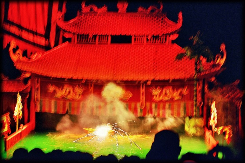 Thang Long Water Puppet Theater.  Complete with fireworks.