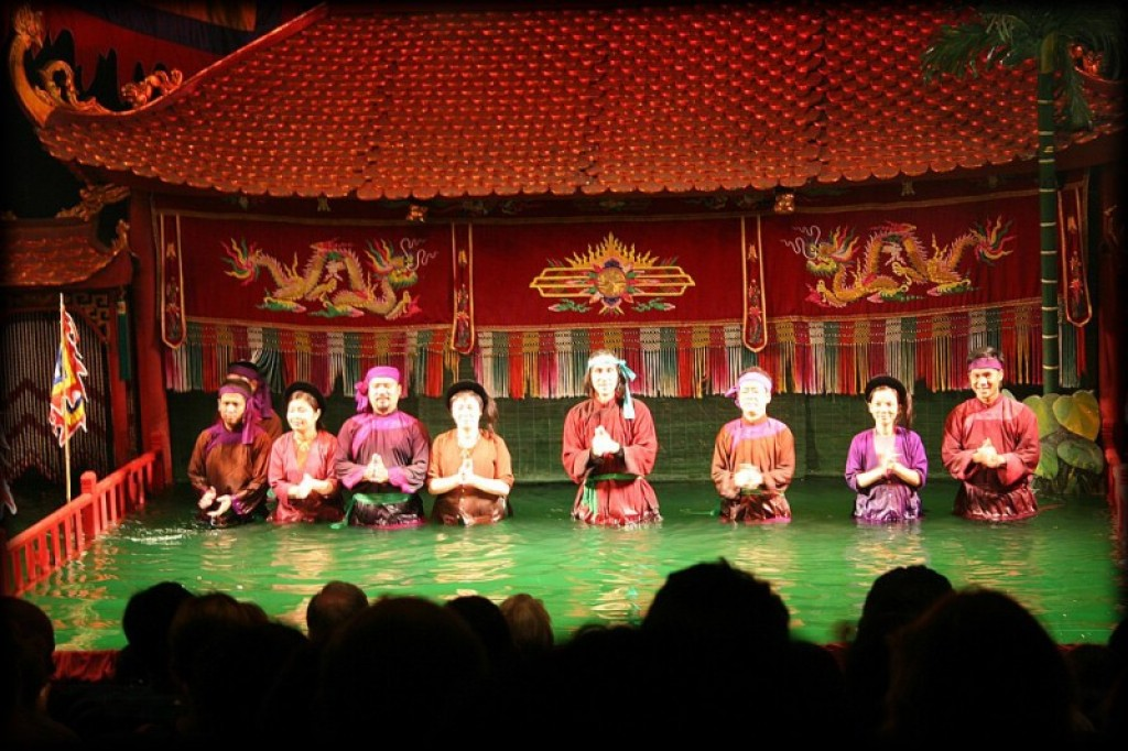 Thang Long Water Puppet Theater.  The performers take a bow.