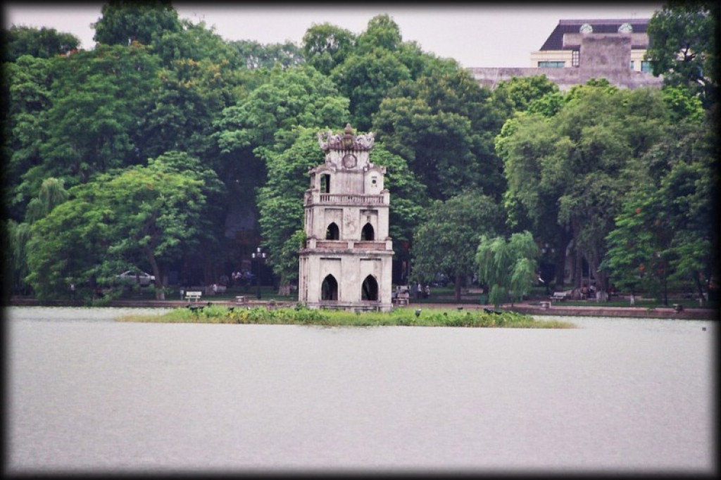 Tortoise Tower, in the middle of Hoan Kiem Lake.
