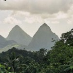 The Pitons seen from the road