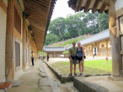 Us in front of the buildings that house the Tripitaka Koreana