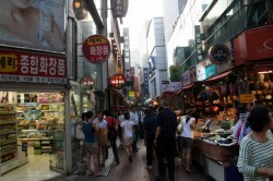 Downtown Busan - shopping in the evening.