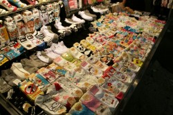 Socks for sale at night in Daegu.
