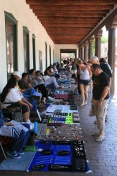 Shopping for jewlery in front of the Governor's Palace