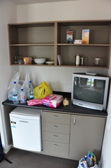 No cooking facilities in the room, but there was a fridge.