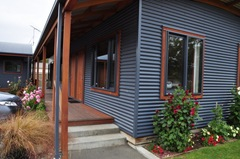 Outside view of our room in the Matai Lodge at Top 10 Holiday Park Te Anau
