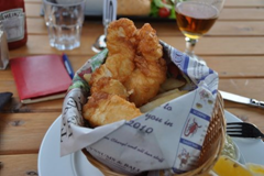 Fish 'n Chips at The Secret Garden, a wonderful restaurant in Blenheim, New Zealand