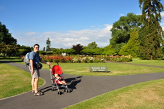 Exploring the rose garden in Rotorua with our light weight UppaBaby G-Lite umbrella stroller.