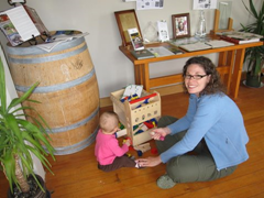 Playing with toys at the very family-friendly Te Whare Ra Winery in beautiful Marlborough, New Zealand