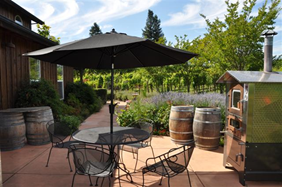 The beautiful terrace at De la Montanya Winery, in Healdsburg, Sonoma County.