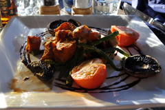 Stacked Portobello and Vegetables, the vegetarian dinner option at The Reef Seafood Restaurant & Bar, Wanaka