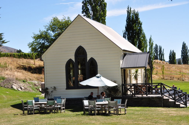 Central Otago's Waitiri Creek Winery and Restaurant's Cellar Door/Tasting Room is housed in an old church.