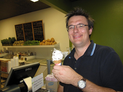 Ian enjoying one of Fruta's more traditional ice cream flavors - chocolate chip.