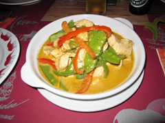 Penang Curry with chicken, at Sawasdee Thai Restaurant, Aruba