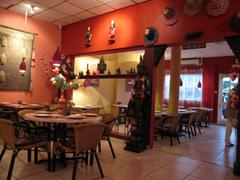 The brightly colored interior at Sawasdee Thai Restaurant, Aruba.