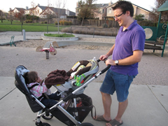 Out at the park - notice how there's still room in the UPPAbaby Vista stroller basket for my purse, snacks and a couple of blankets even with the RumbleSeat on.