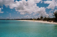 The spectacular beach at Club Med Columbus Isle, San Salvador, Bahamas