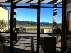 Large glass doors let you enjoy beautiful views out over Dry Creek Valley while you sample the wine at Quivira's tasting room.