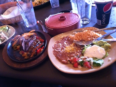 Ian's fajitas at La Rosa - the new Mexican restaurant in downtown Santa Rosa - were actually good.