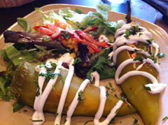 What Wendy was served as Chile Relleno at La Rosa - the new Mexican Restaurant in Downtown Santa Rosa, Wine Country