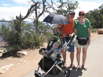 The Vista Uppababy Stroller at the Grand Canyon, with the car seat adapter.