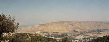 The view from Um Qais, Jordan to Syria, with the hills dotted with olive trees.