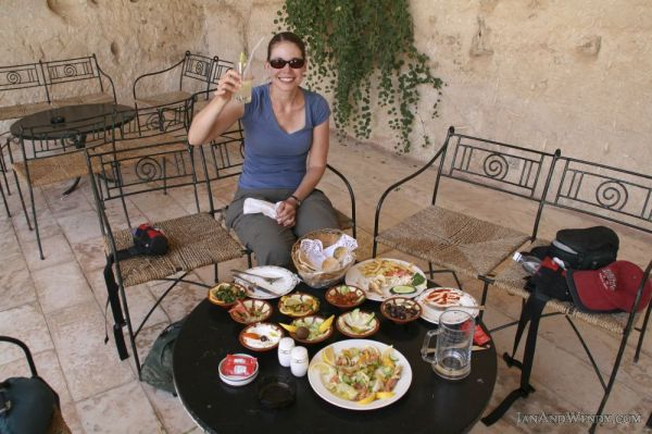Wadi Musa, home to Petra and this fabulous Nabataean tomb turned Cave Bar and its fantastic mezze of olives and much more.