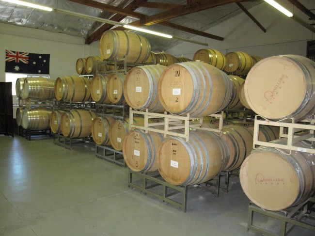 The wine ages in barrels right where you taste at Loxton Winery