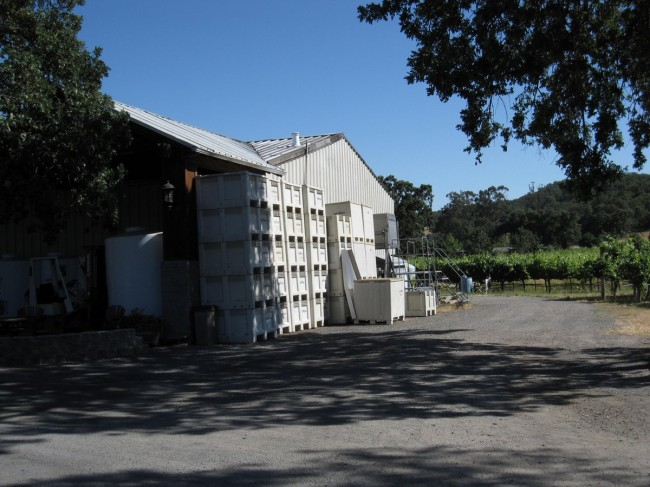 Boxes of wine grapes stacked next to Loxton Winery