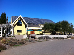 Quivira's Dry Creek Valley tasting room is set in one of their biodynamic vineyards, and complete with solar panels.
